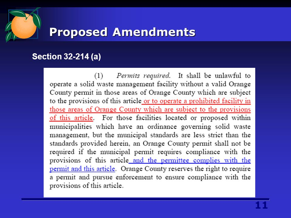 11 Proposed Amendments Section 32-214 (a)