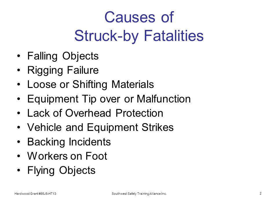 Hardwood Grant #86J6-HT13Southwest Safety Training Alliance Inc. 2 Causes of Struck-by Fatalities Falling Objects Rigging Failure Loose or Shifting Ma