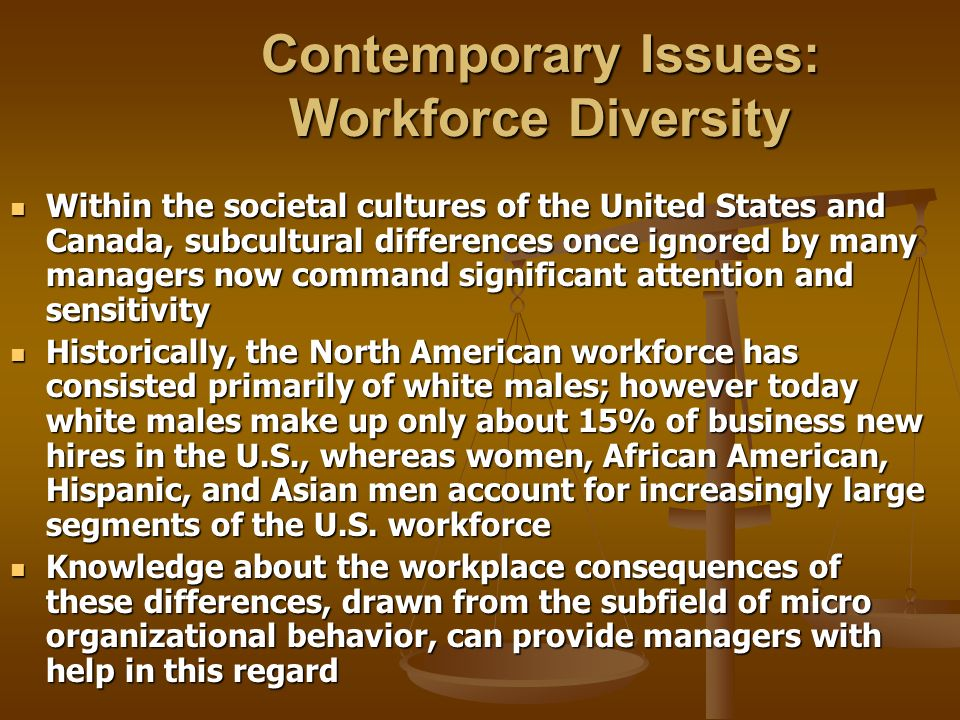 Contemporary Issues: Workforce Diversity Within the societal cultures of the United States and Canada, subcultural differences once ignored by many ma