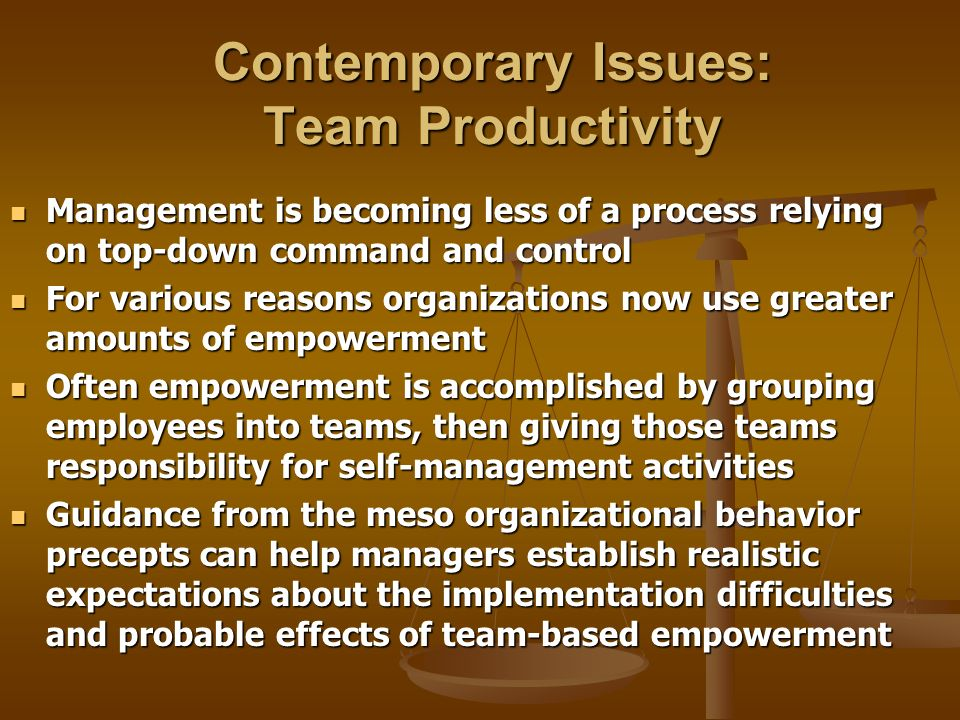 Contemporary Issues: Team Productivity Management is becoming less of a process relying on top-down command and control Management is becoming less of