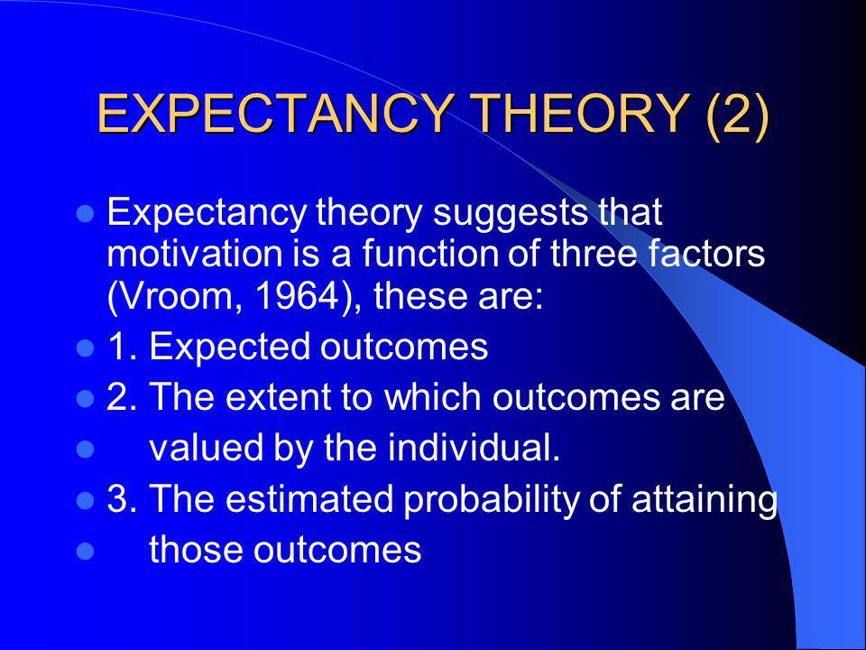 EXPECTANCY THEORY (2) Expectancy theory suggests that motivation is a function of three factors (Vroom, 1964), these are: 1. Expected outcomes 2. The