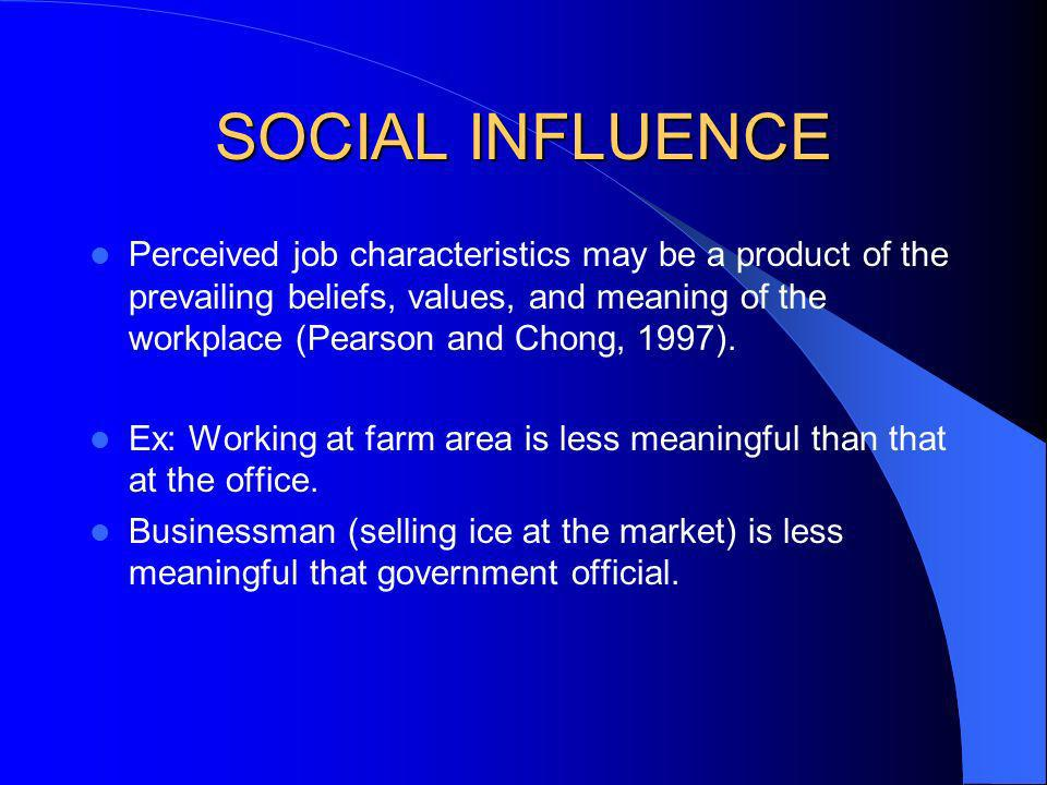 SOCIAL INFLUENCE Perceived job characteristics may be a product of the prevailing beliefs, values, and meaning of the workplace (Pearson and Chong, 19