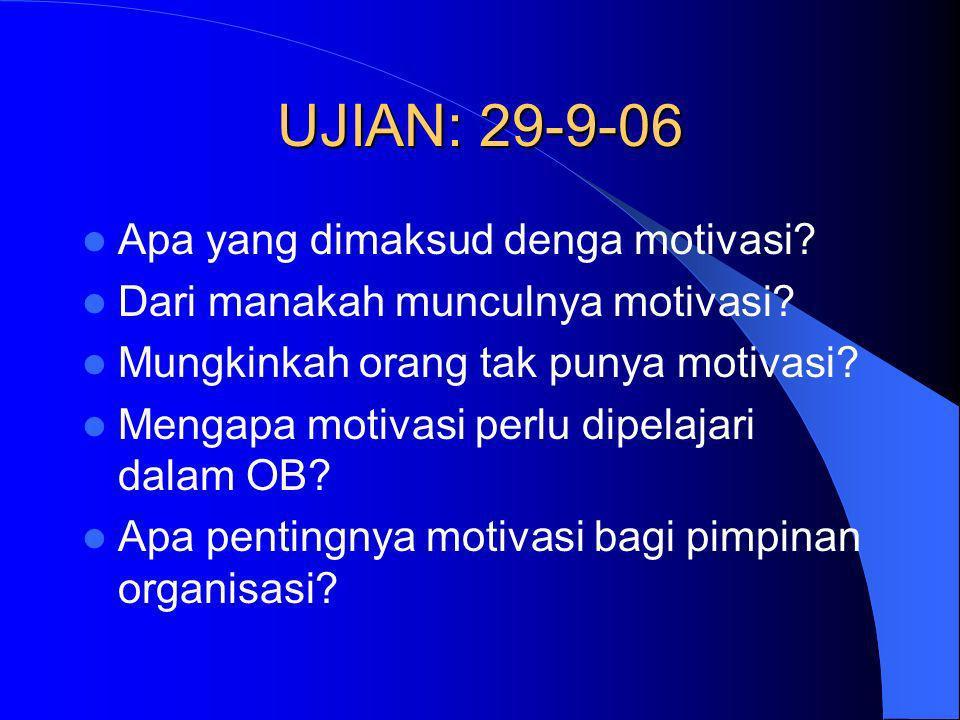 UJIAN: 29-9-06 Apa yang dimaksud denga motivasi? Dari manakah munculnya motivasi? Mungkinkah orang tak punya motivasi? Mengapa motivasi perlu dipelaja