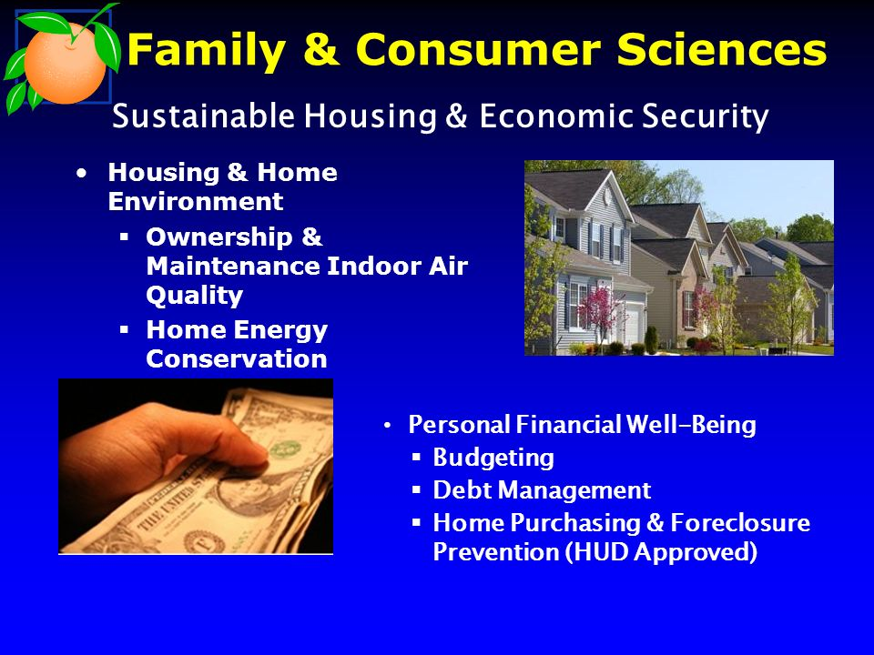 Housing & Home Environment Ownership & Maintenance Indoor Air Quality Home Energy Conservation –Green Homes Personal Financial Well-Being Budgeting Debt Management Home Purchasing & Foreclosure Prevention (HUD Approved) Sustainable Housing & Economic Security Family & Consumer Sciences