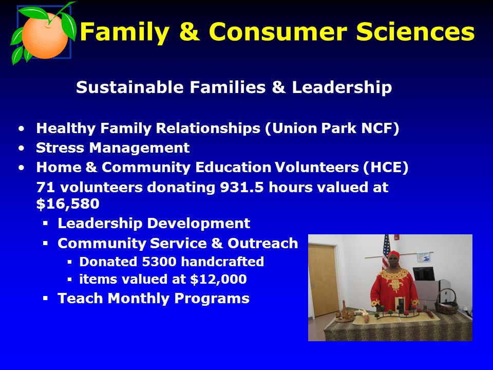Sustainable Families & Leadership Healthy Family Relationships (Union Park NCF) Stress Management Home & Community Education Volunteers (HCE) 71 volunteers donating 931.5 hours valued at $16,580 Leadership Development Community Service & Outreach Donated 5300 handcrafted items valued at $12,000 Teach Monthly Programs Family & Consumer Sciences
