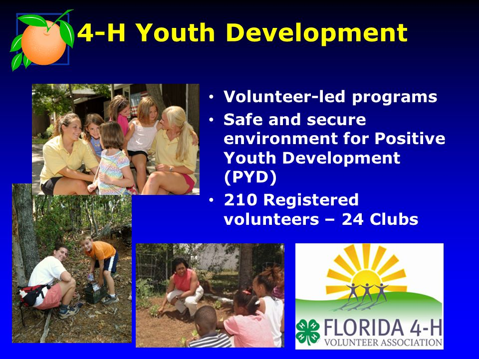 Volunteer-led programs Safe and secure environment for Positive Youth Development (PYD) 210 Registered volunteers – 24 Clubs