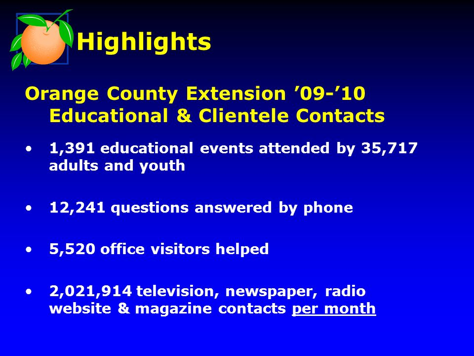 Orange County Extension 09-10 Educational & Clientele Contacts 1,391 educational events attended by 35,717 adults and youth 12,241 questions answered by phone 5,520 office visitors helped 2,021,914 television, newspaper, radio website & magazine contacts per month Highlights