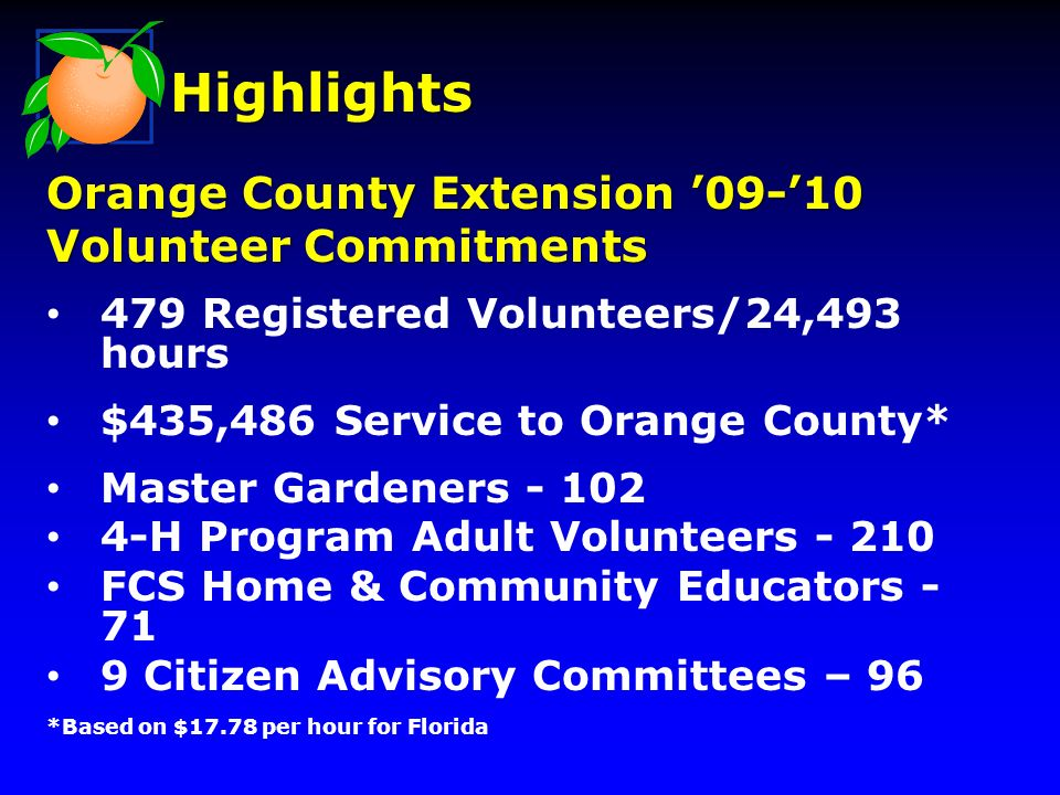479 Registered Volunteers/24,493 hours $435,486 Service to Orange County* Master Gardeners - 102 4-H Program Adult Volunteers - 210 FCS Home & Community Educators - 71 9 Citizen Advisory Committees – 96 *Based on $17.78 per hour for Florida Highlights Orange County Extension 09-10 Volunteer Commitments
