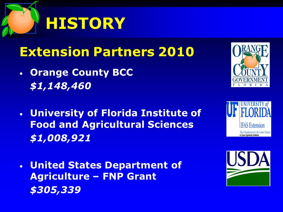 Extension Partners 2010 Orange County BCC $1,148,460 University of Florida Institute of Food and Agricultural Sciences $1,008,921 United States Department of Agriculture – FNP Grant $305,339 HISTORY