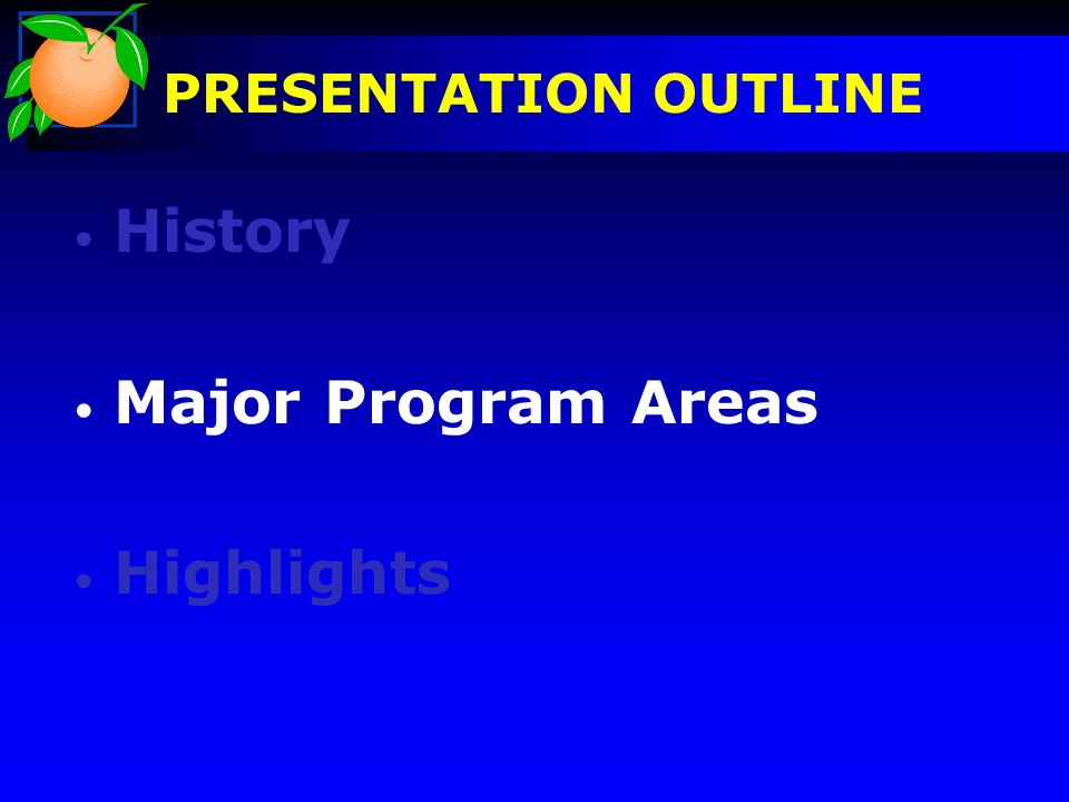 PREAMBLE History Major Program Areas Highlights PRESENTATION OUTLINE