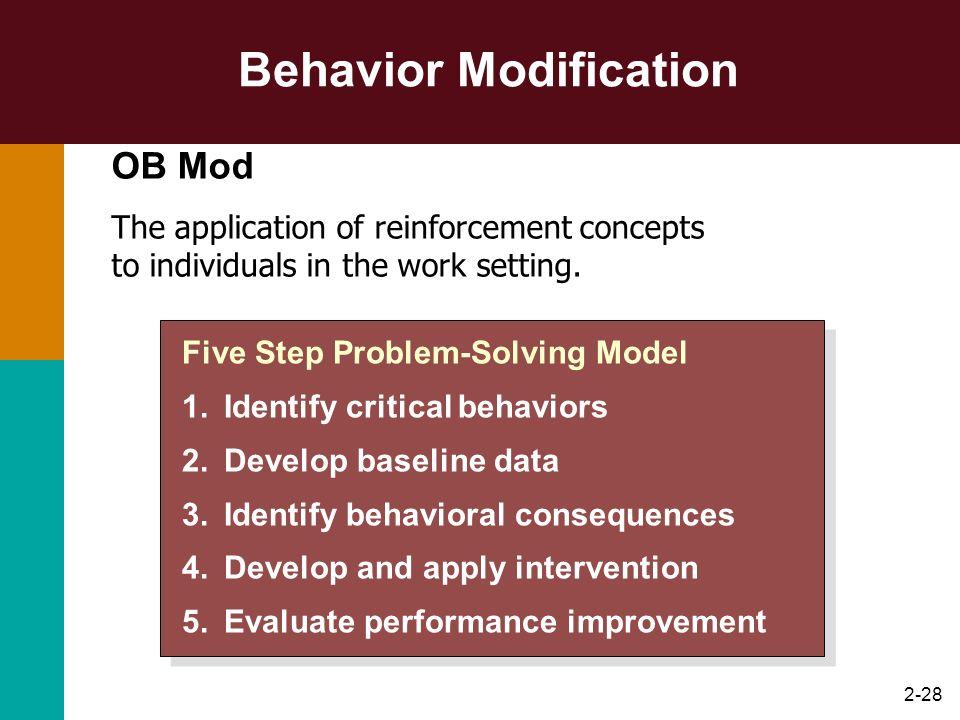 2-28 Behavior Modification Five Step Problem-Solving Model 1.Identify critical behaviors 2.Develop baseline data 3.Identify behavioral consequences 4.