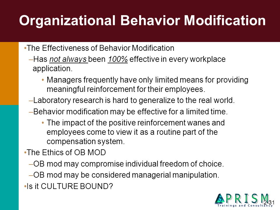 2-31 Organizational Behavior Modification The Effectiveness of Behavior Modification –Has not always been 100% effective in every workplace applicatio
