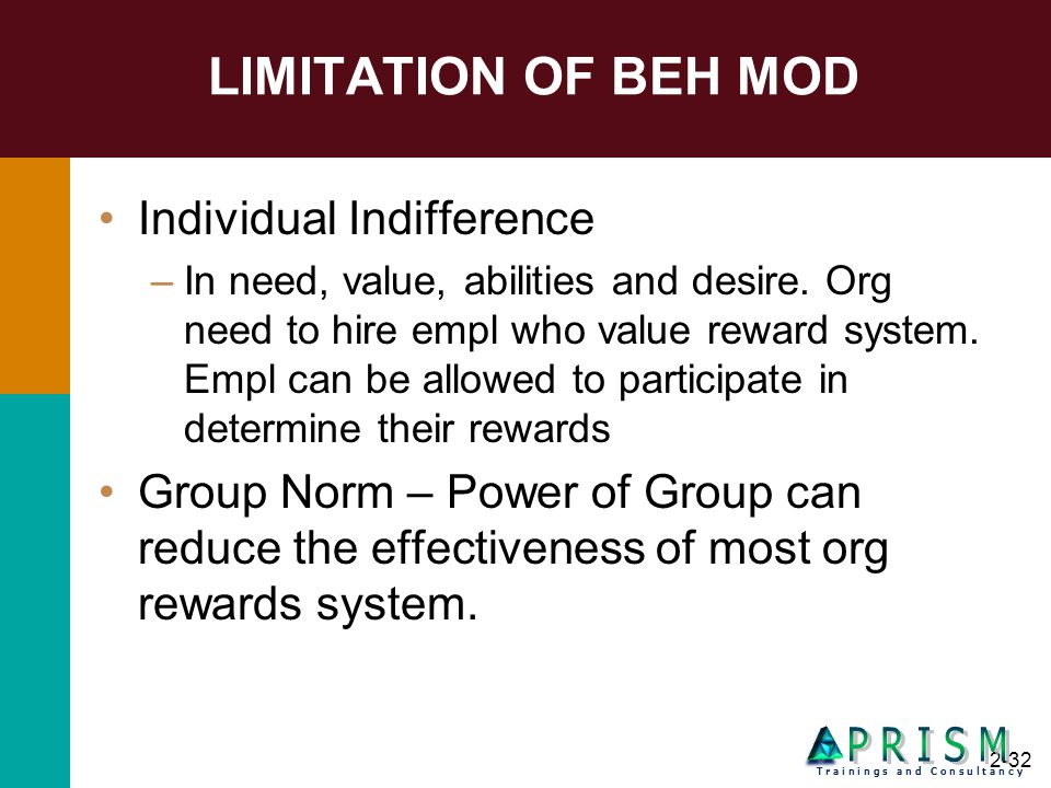 2-32 LIMITATION OF BEH MOD Individual Indifference –In need, value, abilities and desire. Org need to hire empl who value reward system. Empl can be a