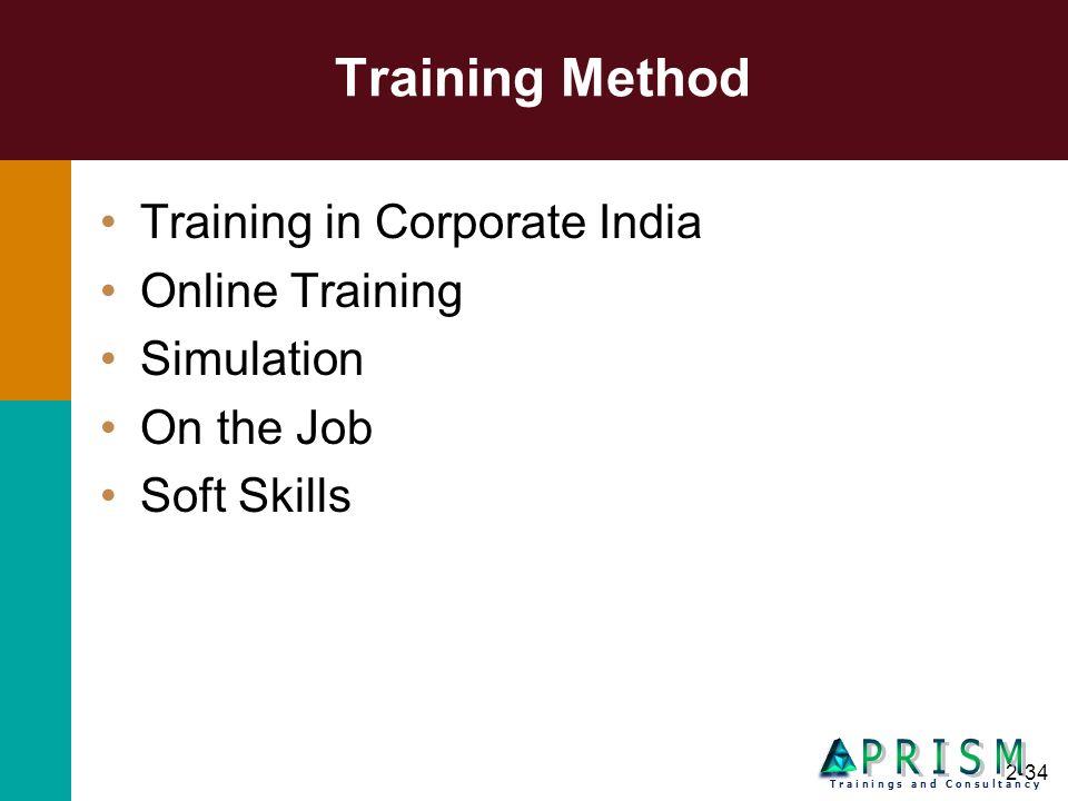 2-34 Training Method Training in Corporate India Online Training Simulation On the Job Soft Skills T r a i n i n g s a n d C o n s u l t a n c y