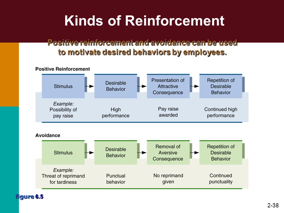2-38 Kinds of Reinforcement figure 6.5 Positive reinforcement and avoidance can be used to motivate desired behaviors by employees.