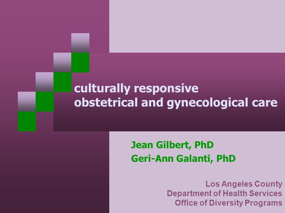 culturally responsive obstetrical and gynecological care Jean Gilbert, PhD Geri-Ann Galanti, PhD Los Angeles County Department of Health Services Offi
