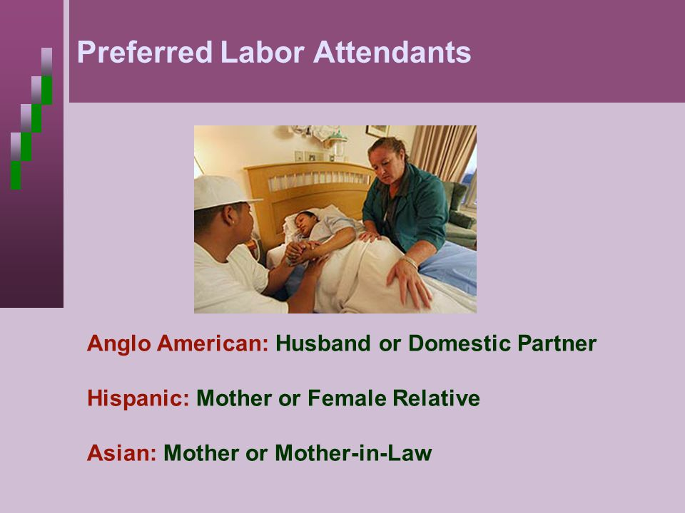 Preferred Labor Attendants Anglo American: Husband or Domestic Partner Hispanic: Mother or Female Relative Asian: Mother or Mother-in-Law