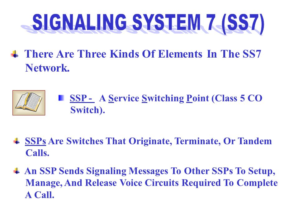 There Are Three Kinds Of Elements In The SS7 Network. SSP - A Service Switching Point (Class 5 CO Switch). SSPs Are Switches That Originate, Terminate