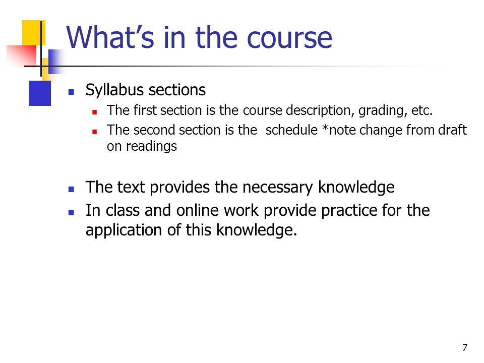 7 Whats in the course Syllabus sections The first section is the course description, grading, etc.