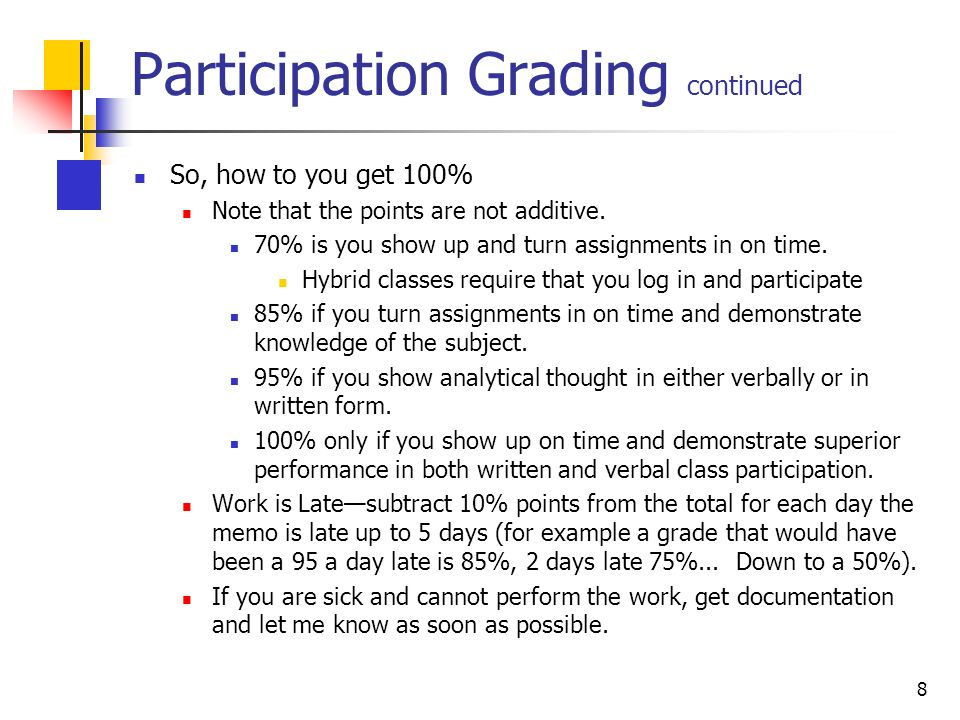 8 Participation Grading continued So, how to you get 100% Note that the points are not additive.