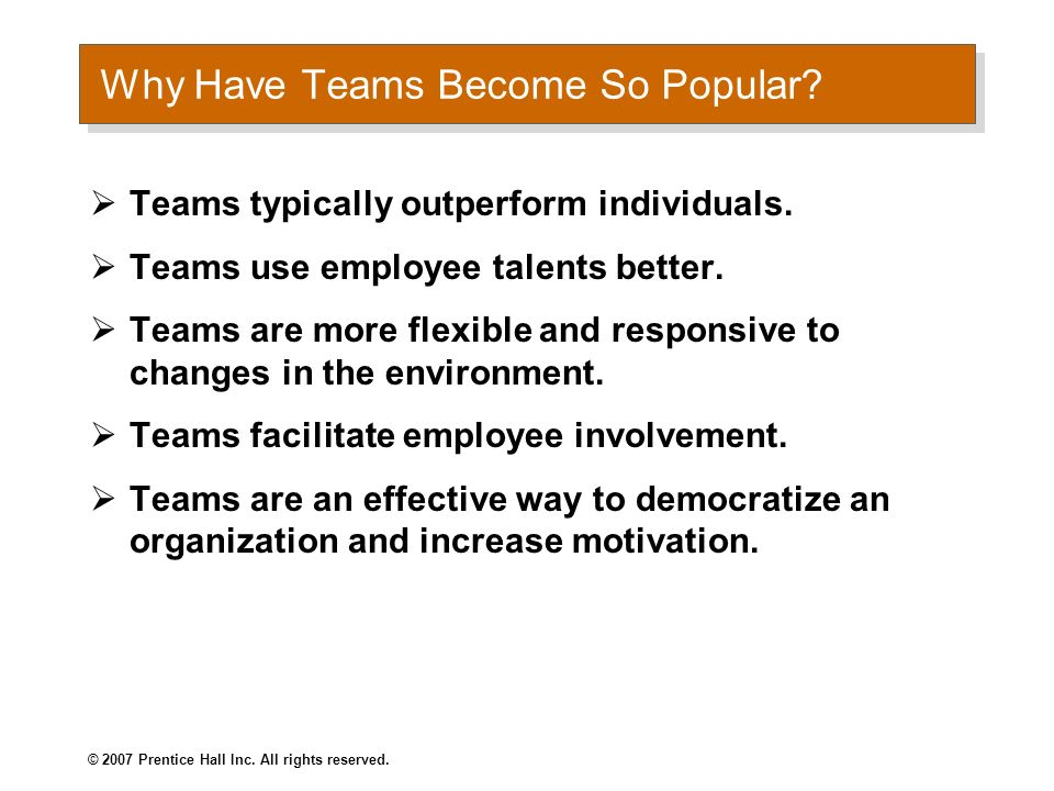 © 2007 Prentice Hall Inc. All rights reserved. Understanding Work Teams Chapter TEN