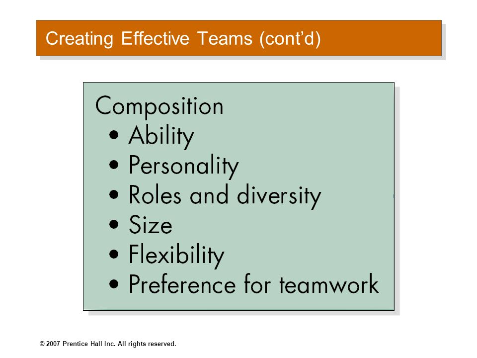 © 2007 Prentice Hall Inc. All rights reserved. Creating Effective Teams