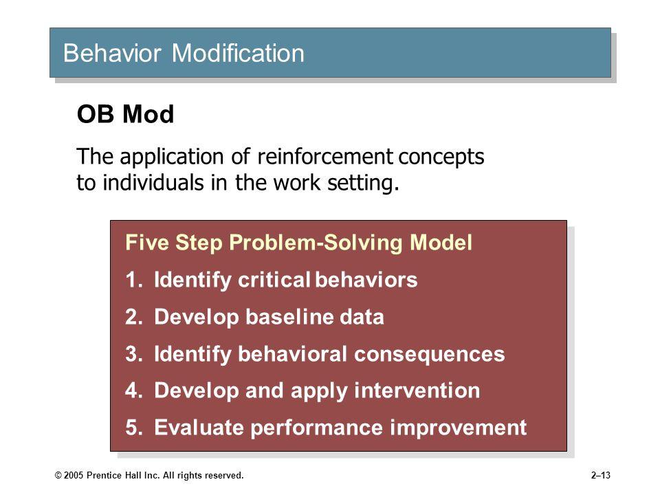 © 2005 Prentice Hall Inc. All rights reserved.2–13 Behavior Modification Five Step Problem-Solving Model 1.Identify critical behaviors 2.Develop basel