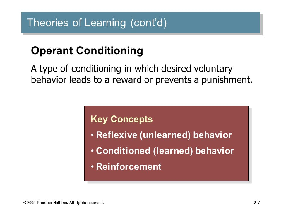 © 2005 Prentice Hall Inc. All rights reserved.2–7 Theories of Learning (contd) Key Concepts Reflexive (unlearned) behavior Conditioned (learned) behav