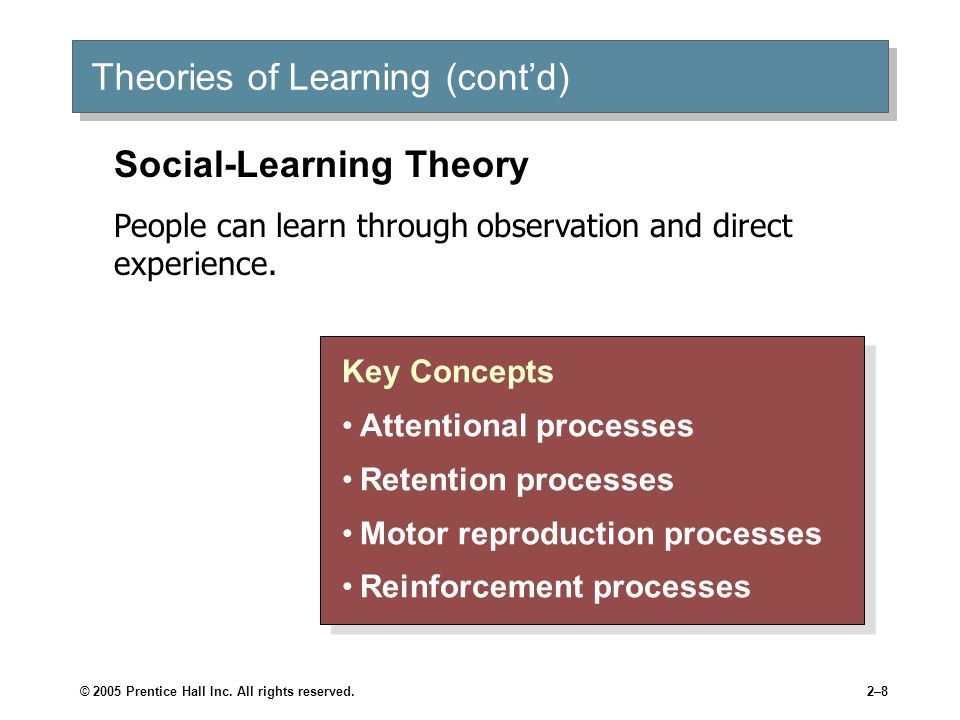 © 2005 Prentice Hall Inc. All rights reserved.2–8 Theories of Learning (contd) Key Concepts Attentional processes Retention processes Motor reproducti