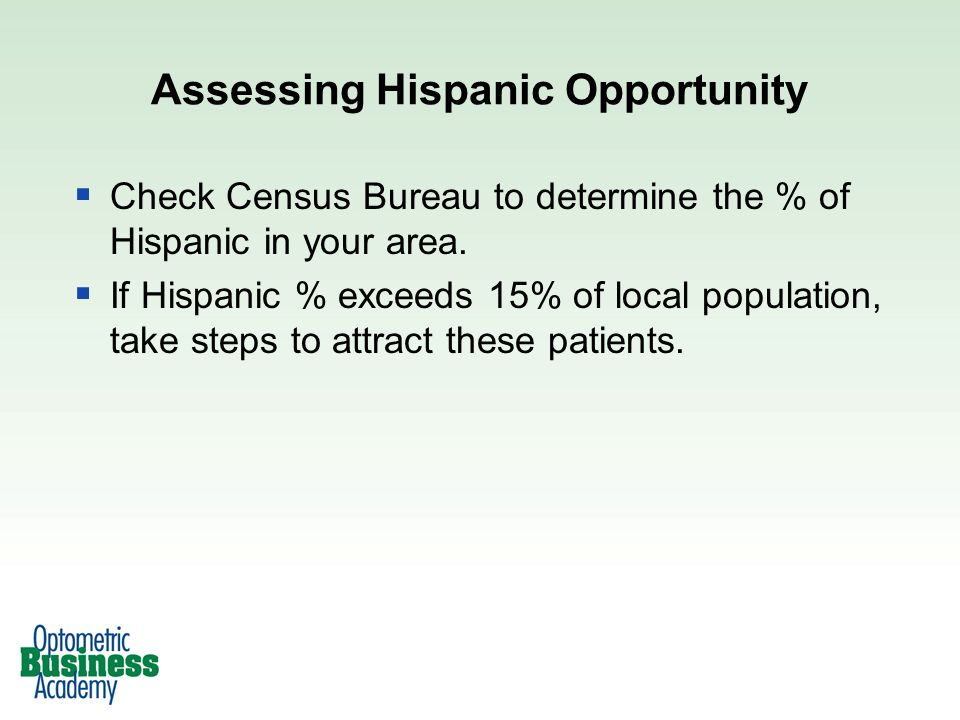 Check Census Bureau to determine the % of Hispanic in your area.