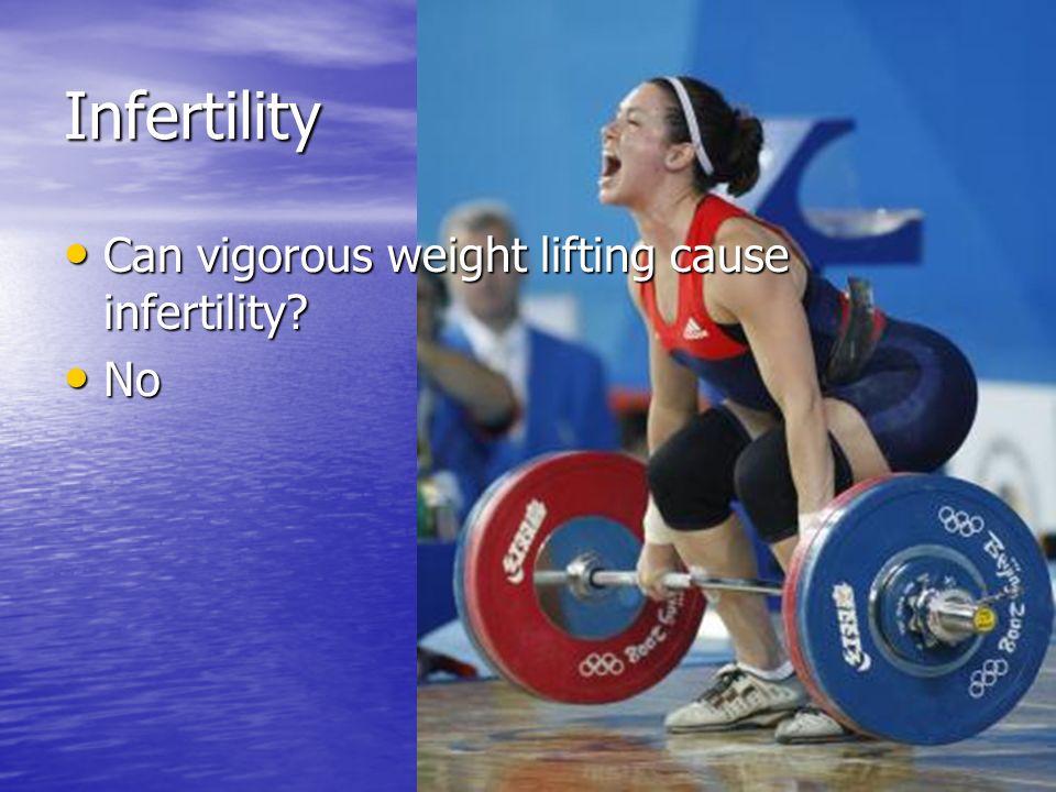 Infertility Can vigorous weight lifting cause infertility? Can vigorous weight lifting cause infertility? No No