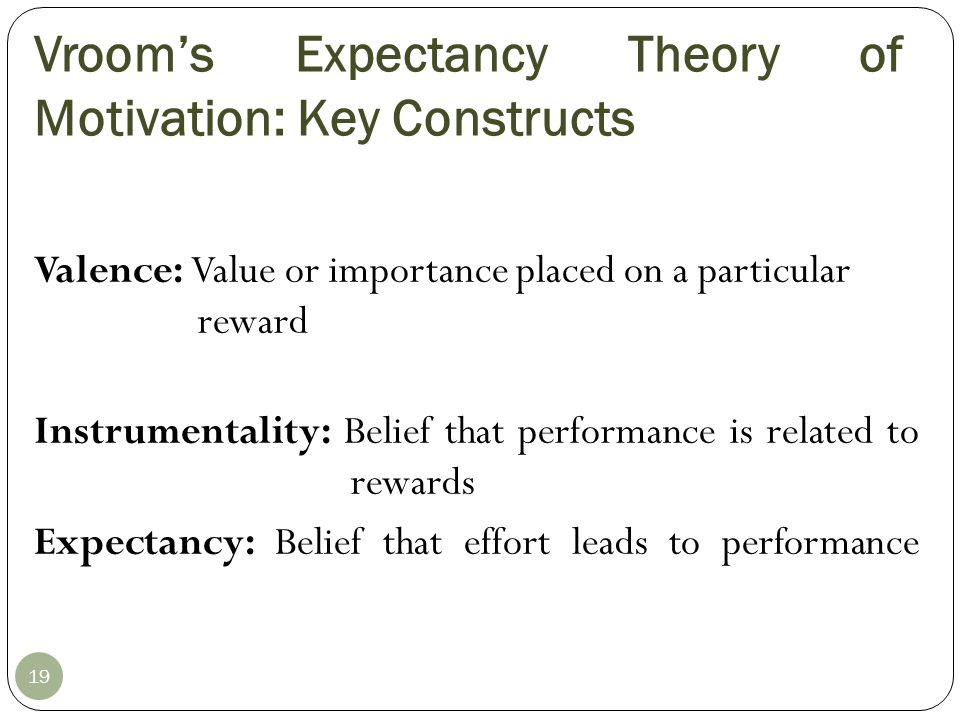 Expectancy Model of Motivation Performance (Instrumentality) Reward (Valence) Effort (Expectancy) Perceived effort– performance probability Perceived value of reward Perceived performance– reward probability If I work hard, will I get the job done.