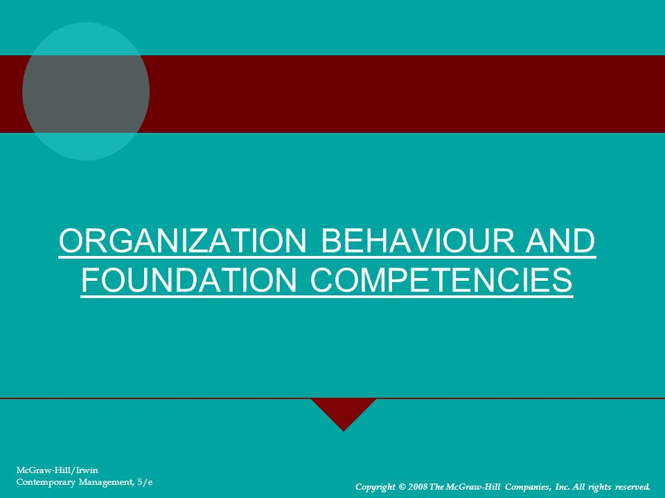 ORGANIZATION BEHAVIOUR AND FOUNDATION COMPETENCIES McGraw-Hill/Irwin Contemporary Management, 5/e Copyright © 2008 The McGraw-Hill Companies, Inc. All