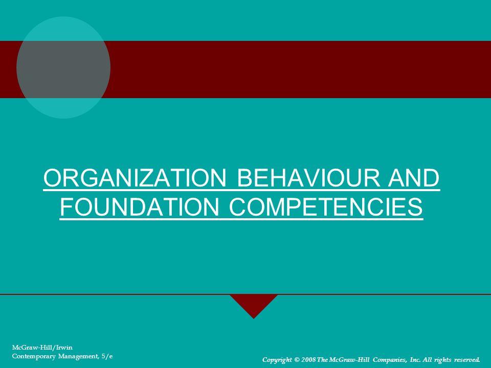 2-3 ORGANIZATION BEHAVIOUR AND FOUNDATION COMPETENCIES Self competency Communication competency Diversity competency Across culture competency Teams competency Change competency