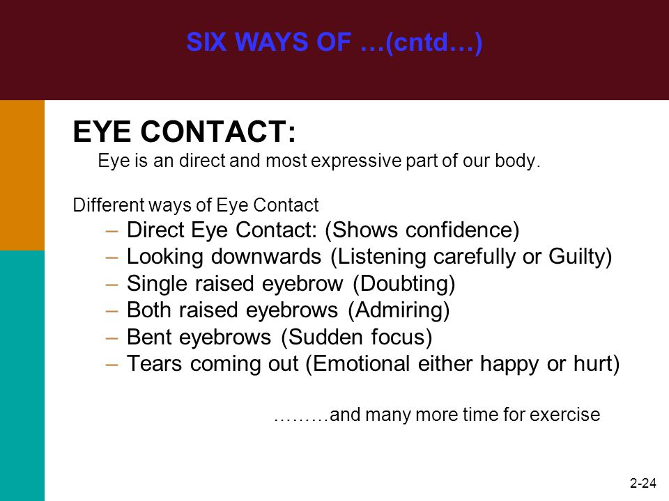 2-24 SIX WAYS OF …(cntd…) EYE CONTACT: Eye is an direct and most expressive part of our body. Different ways of Eye Contact –Direct Eye Contact: (Show