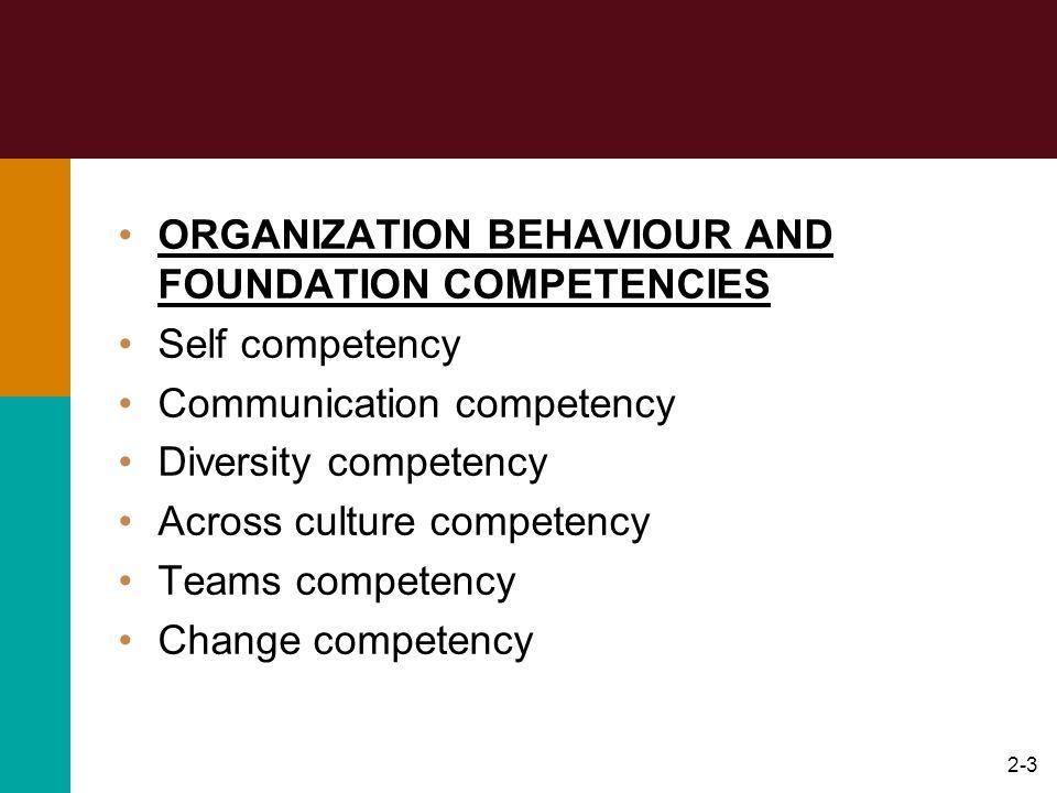 2-3 ORGANIZATION BEHAVIOUR AND FOUNDATION COMPETENCIES Self competency Communication competency Diversity competency Across culture competency Teams c