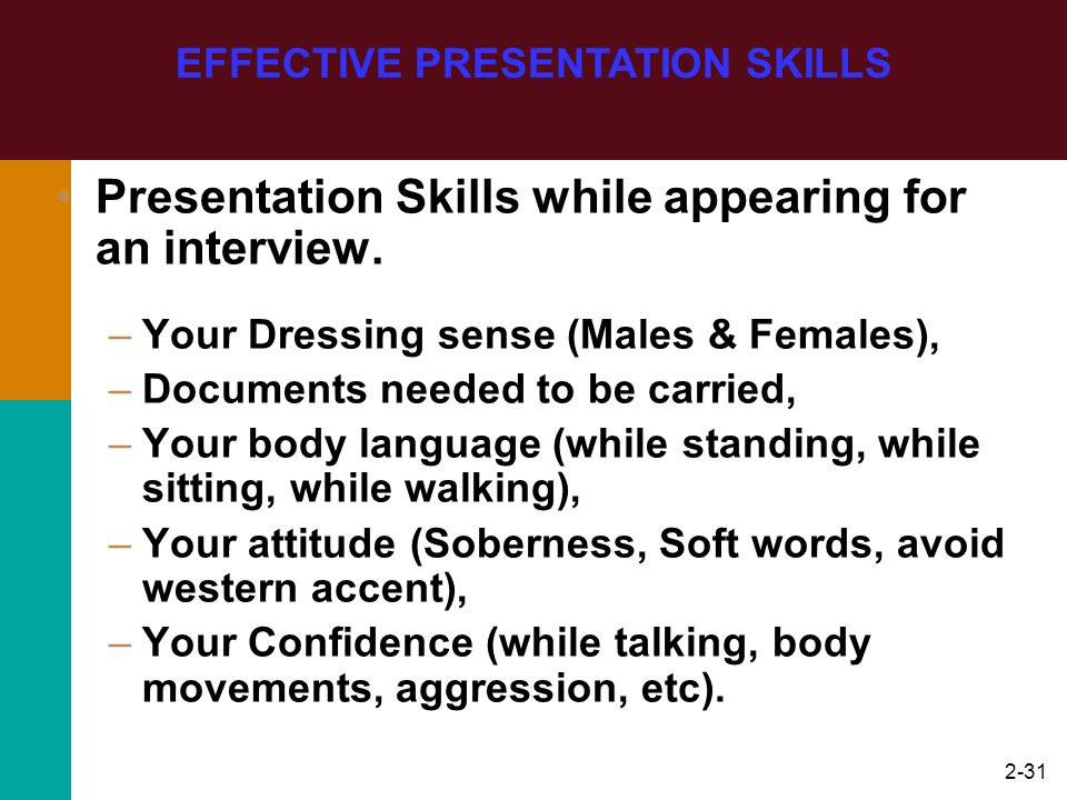 2-31 Presentation Skills while appearing for an interview. –Your Dressing sense (Males & Females), –Documents needed to be carried, –Your body languag