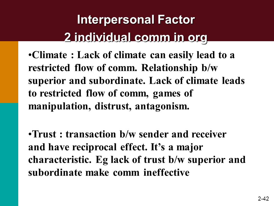 2-42 Interpersonal Factor 2 individual comm in org Climate : Lack of climate can easily lead to a restricted flow of comm. Relationship b/w superior a