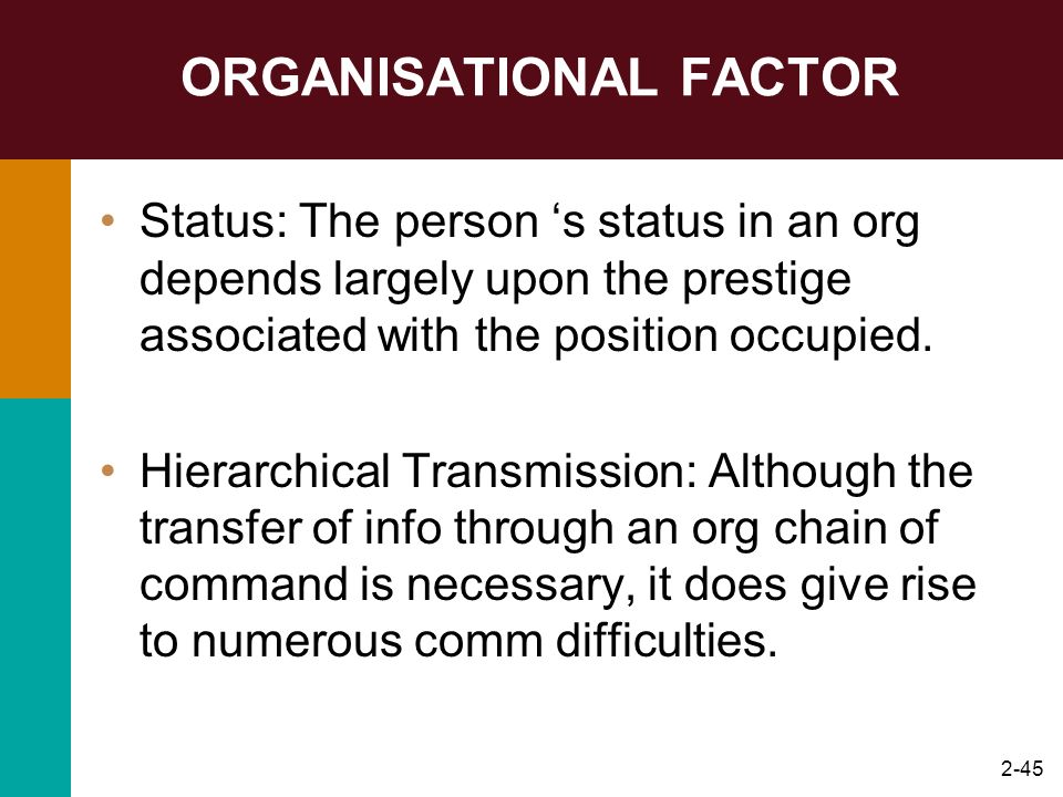 2-45 ORGANISATIONAL FACTOR Status: The person s status in an org depends largely upon the prestige associated with the position occupied. Hierarchical
