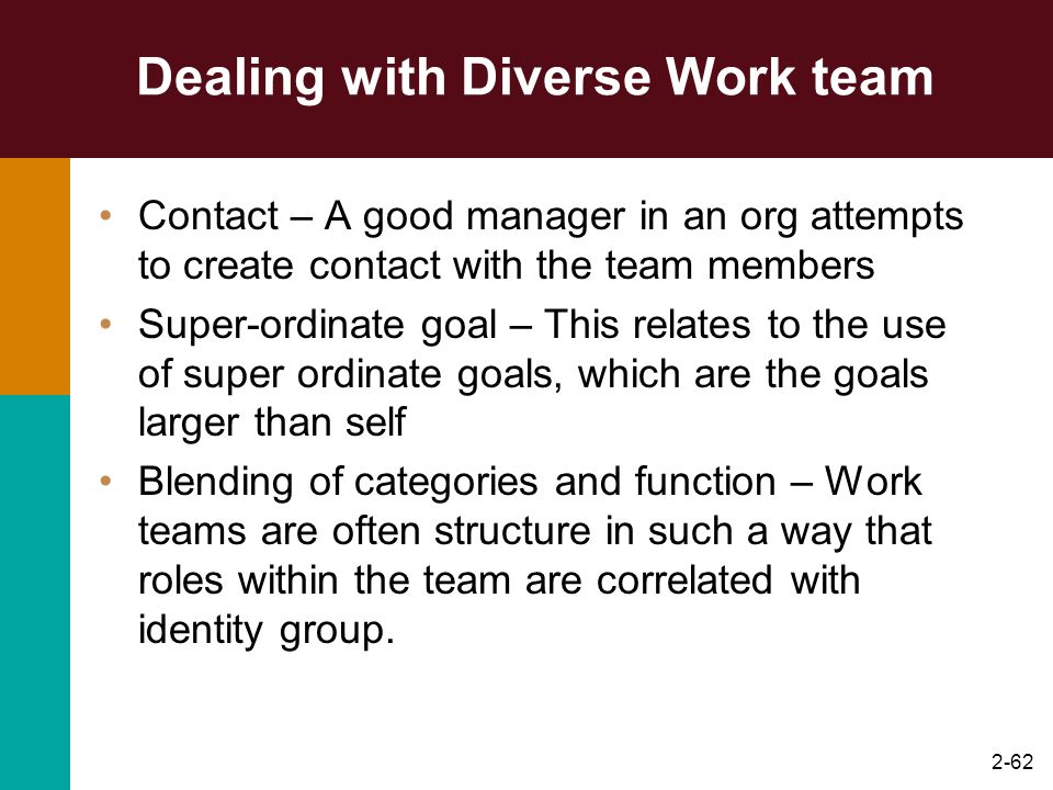2-62 Dealing with Diverse Work team Contact – A good manager in an org attempts to create contact with the team members Super-ordinate goal – This rel