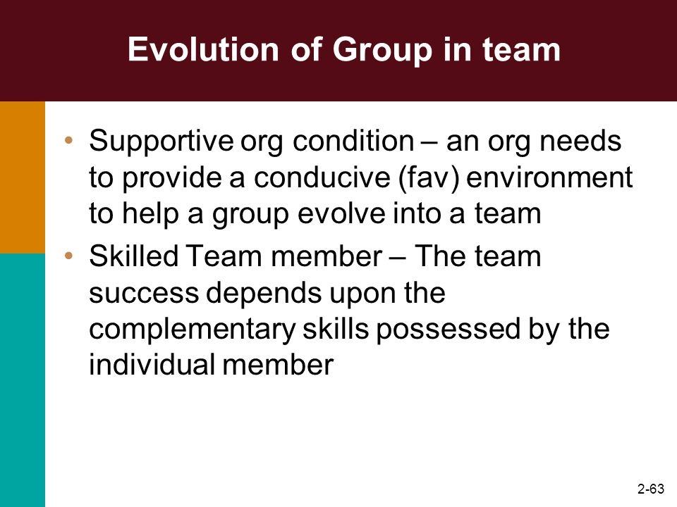 2-63 Evolution of Group in team Supportive org condition – an org needs to provide a conducive (fav) environment to help a group evolve into a team Sk