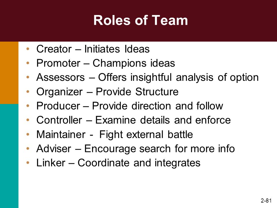2-81 Roles of Team Creator – Initiates Ideas Promoter – Champions ideas Assessors – Offers insightful analysis of option Organizer – Provide Structure