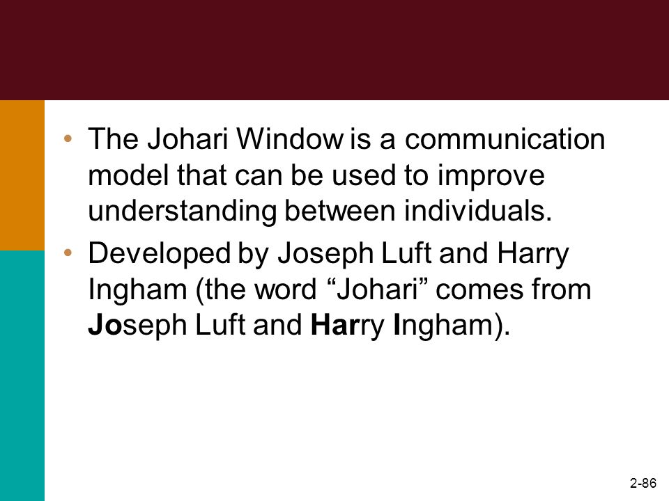 2-86 The Johari Window is a communication model that can be used to improve understanding between individuals. Developed by Joseph Luft and Harry Ingh