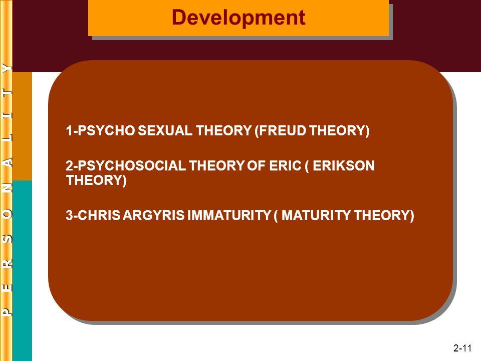 2-11 1-PSYCHO SEXUAL THEORY (FREUD THEORY) 2-PSYCHOSOCIAL THEORY OF ERIC ( ERIKSON THEORY) 3-CHRIS ARGYRIS IMMATURITY ( MATURITY THEORY) 1-PSYCHO SEXU