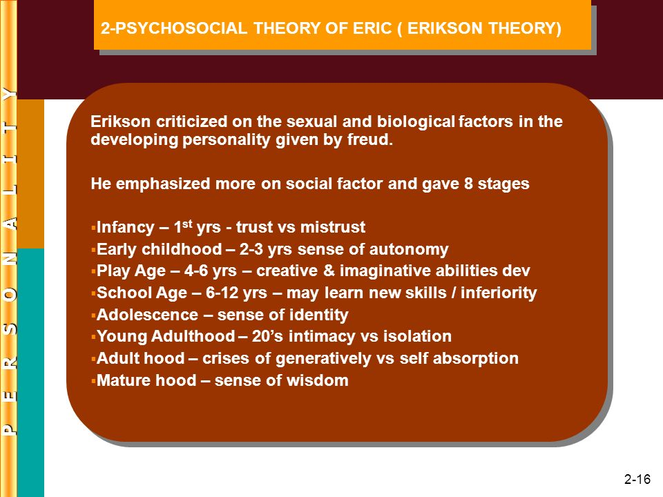 2-16 Erikson criticized on the sexual and biological factors in the developing personality given by freud. He emphasized more on social factor and gav