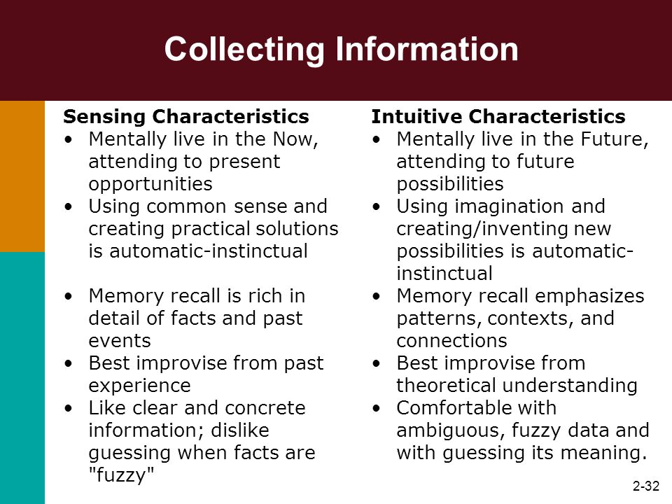 2-32 Collecting Information Sensing Characteristics Mentally live in the Now, attending to present opportunities Using common sense and creating pract