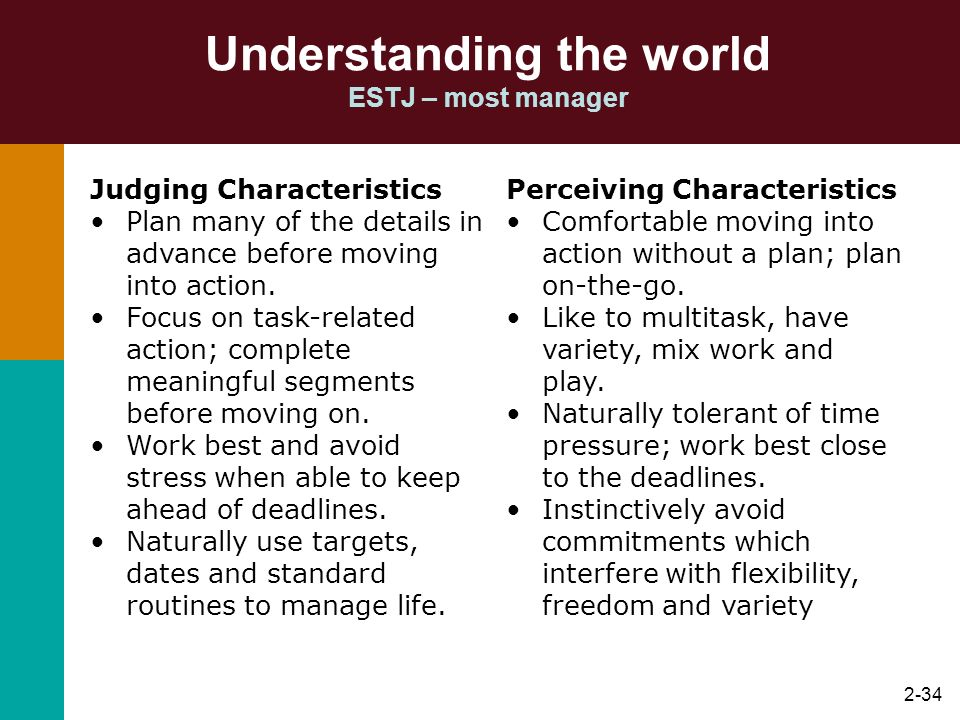 2-34 Understanding the world ESTJ – most manager Judging Characteristics Plan many of the details in advance before moving into action. Focus on task-