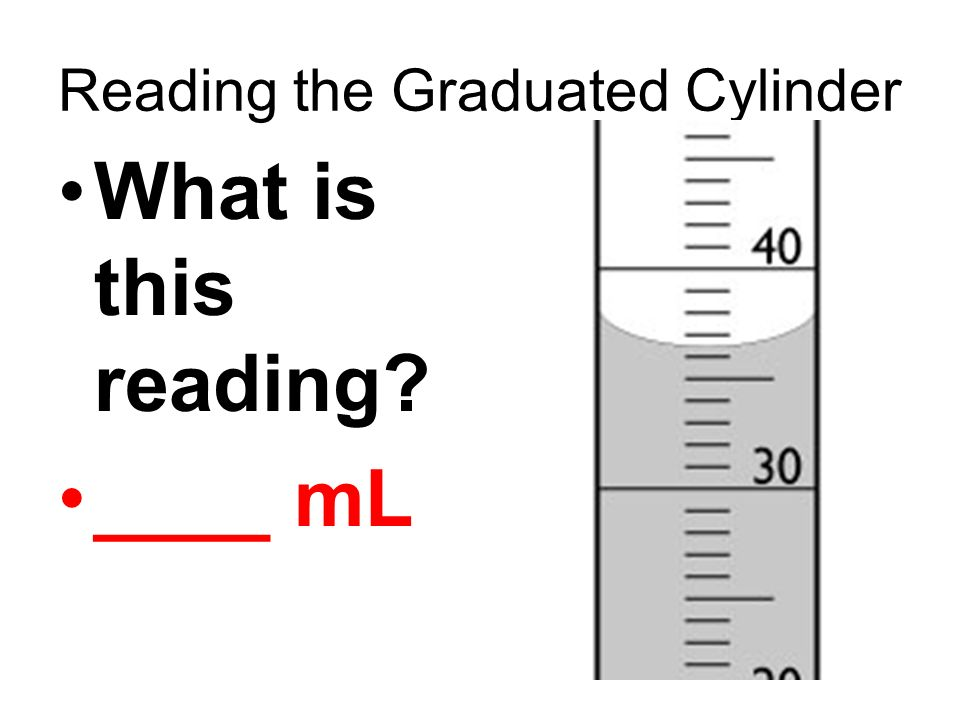 Reading the Graduated Cylinder What is this reading? ____ mL