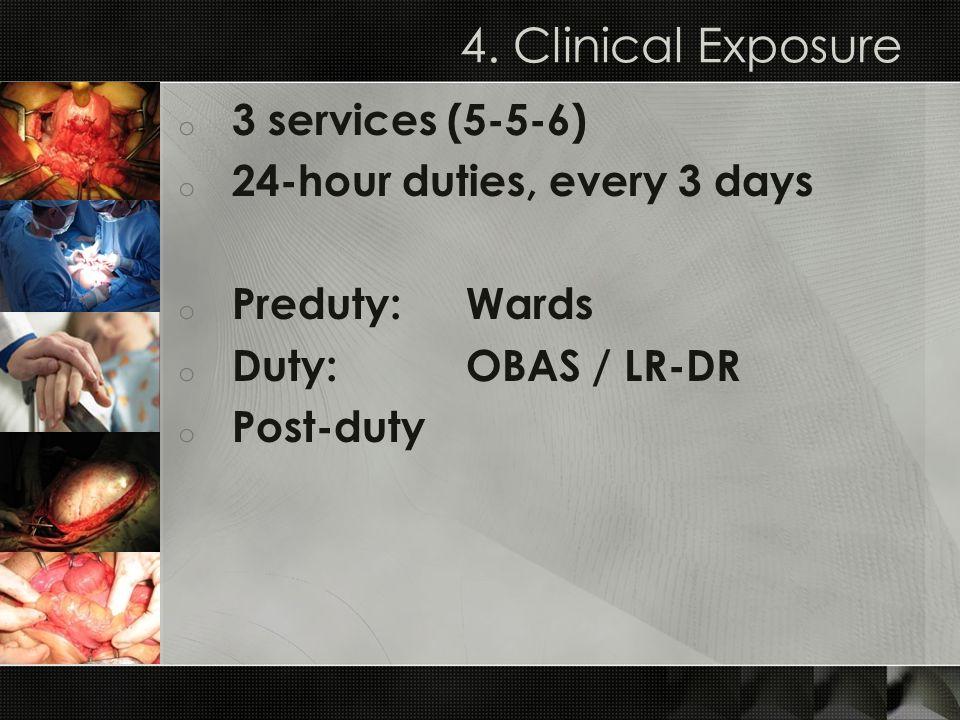 4. Clinical Exposure o 3 services (5-5-6) o 24-hour duties, every 3 days o Preduty:Wards o Duty: OBAS / LR-DR o Post-duty