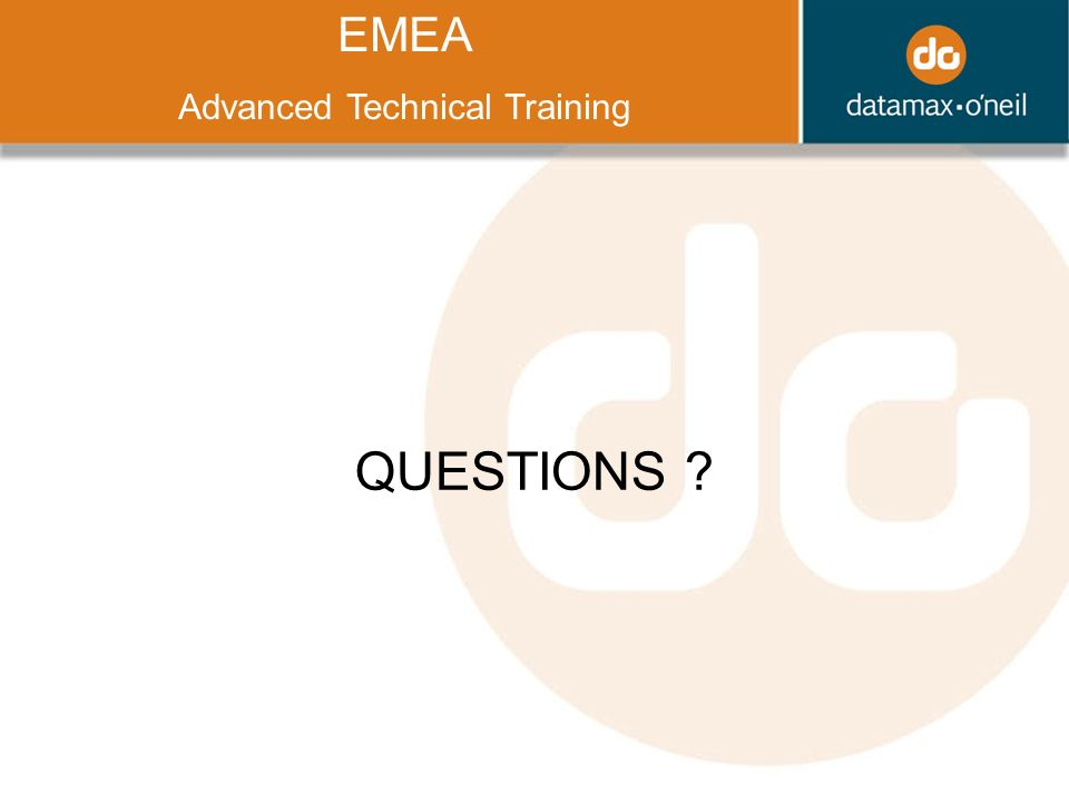 Title QUESTIONS ? EMEA Advanced Technical Training